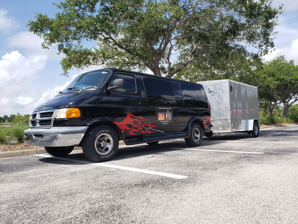 Chef Mike SRQ's van and trailer for catering events at venues.