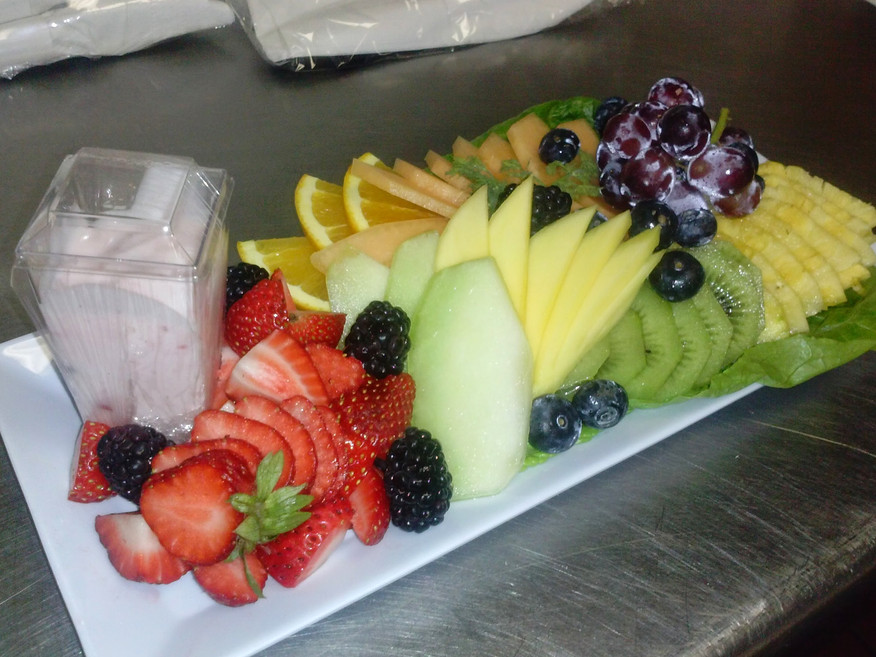 A personal fruit tray for a private flight.
