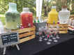 Beverage station at a party serving non-alcoholic drinks.