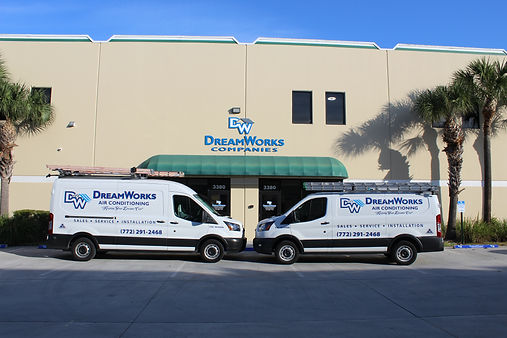 DreamWorks AC Vans in front of hte DreamWorks Companies showroom in Palm City, FL.