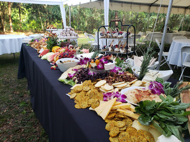 Tropical buffet for an outdoor private party.