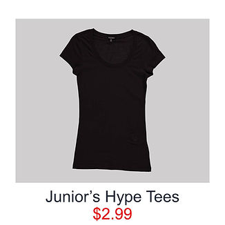 Junior's Hype Tees at Fallas Stores for $2.99, black scoop neck