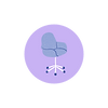 lilac round icon with office chair in half blue.