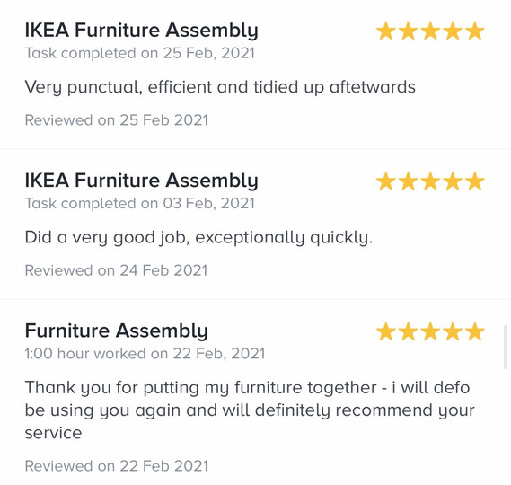 9. reviews by task rabbit