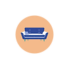 round rose icon with blue sofa in the middle