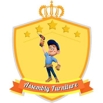 beautiful golden yellow coat of arms, five stars and happy assembler with machine in hands in winner position