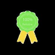 100% reliable green guarantee seal with yellow ribbon tips
