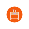 orange round icon with white bedside in the middle.