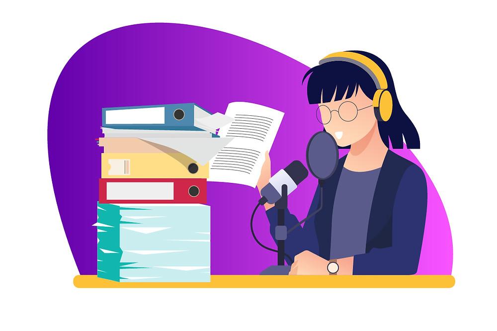 Ilustração de uma mulher escutando podcast enquantto estuda | Podcast na educação | CastHood