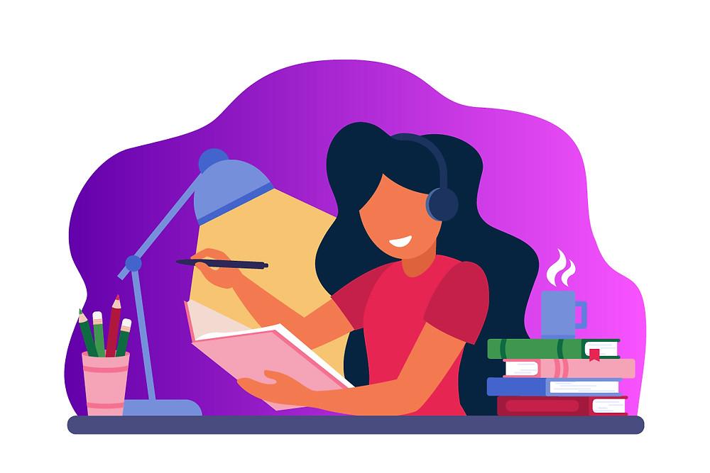 Ilustração mulher ouvindo podcasts enquanto estuda | Podcast na educação | CastHood