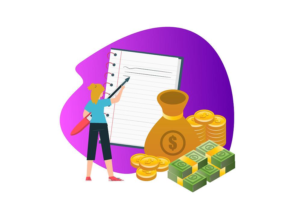 Ilustração de uma mulher escrevendo em um caderno envolto em dinheiro | Podcast dá dinheiro | CastHood