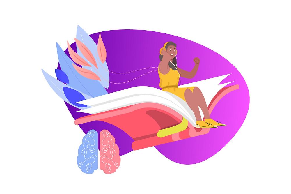 Ilustração de uma mulher voando sobre um livro escutando podcast | Podcast na educação | CastHood