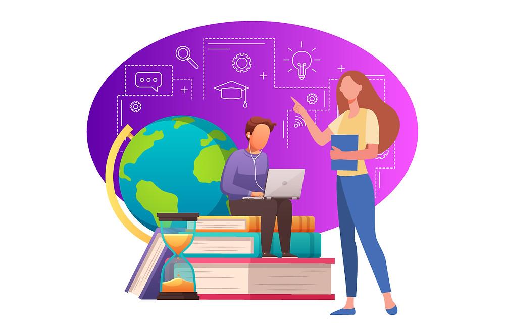 Ilustração de um grupo de estudantes conversando enquanto ouvem podcasts | Podcast na educação | CastHood