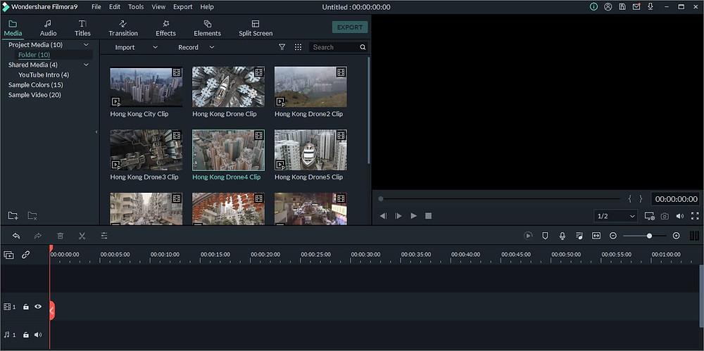 Interface do Filmora   7 melhores softwares de edição de áudio