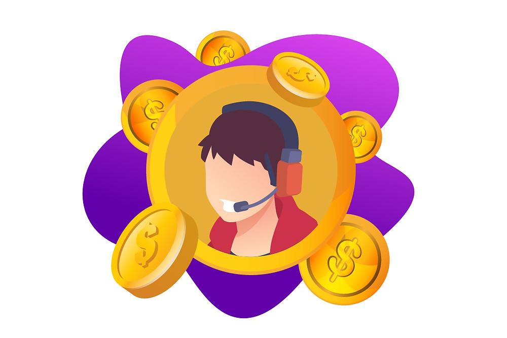 Ilustração de uma mulher com fone de ouvidos em um círculo envolto em dinheiro | Podcast dá dinheiro | CastHood