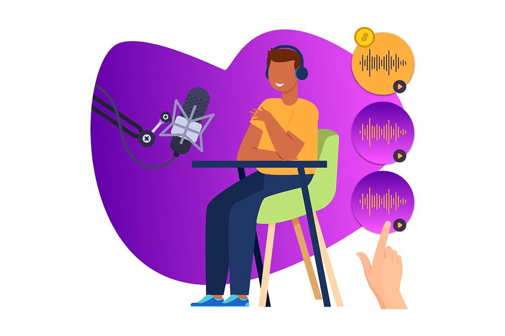 Ilustração de um homem gravando um podcast | Podcast dá dinheiro | CastHood