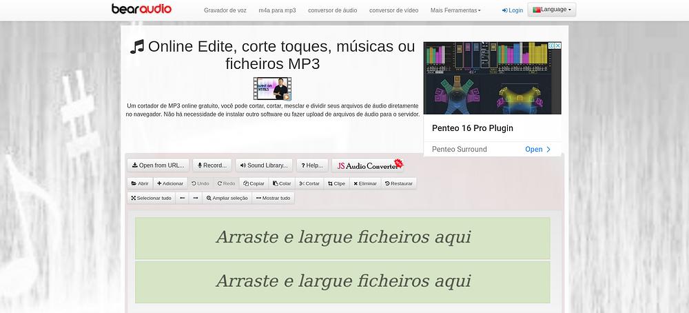 interface do BearAudio   7 melhores softwares de edição de áudio