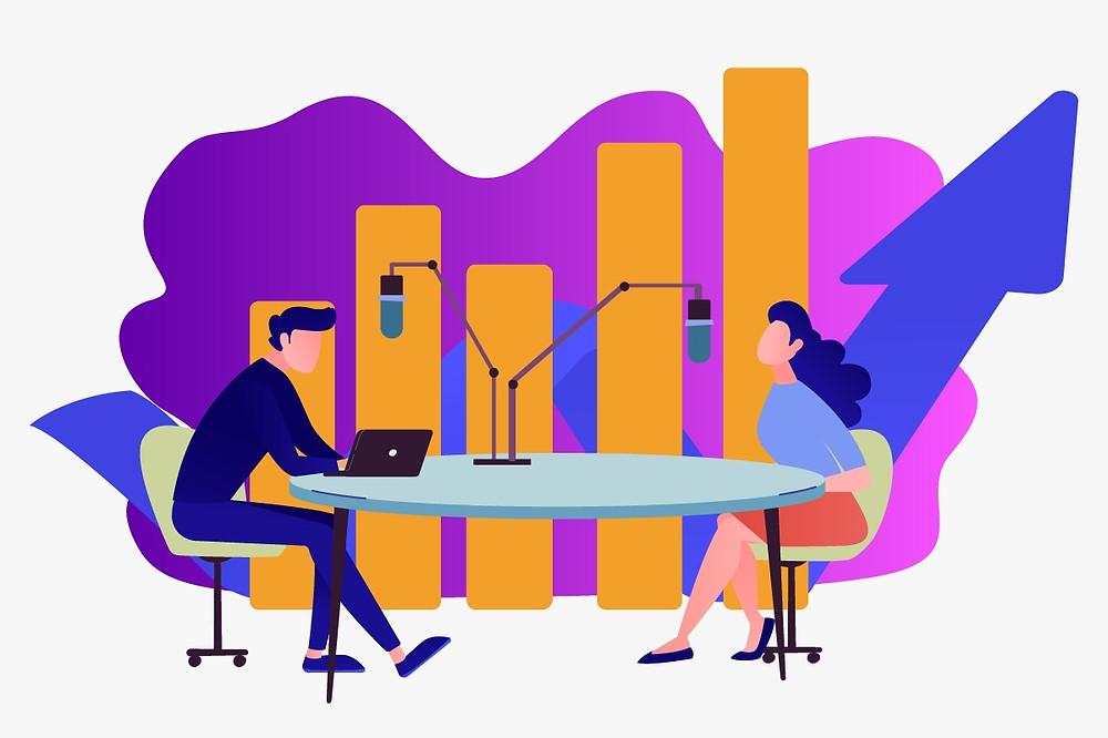 Ilustração da gravação de um podcast para empresas   Podcasts no endomarketing