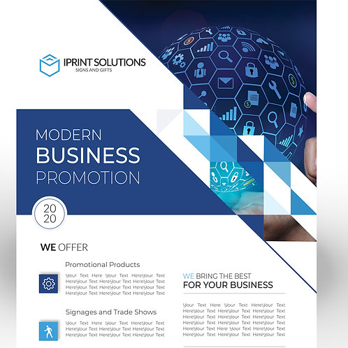 25-1000 pcs. Size 8.5X5.5 Blue and White Business Gloss Flyer