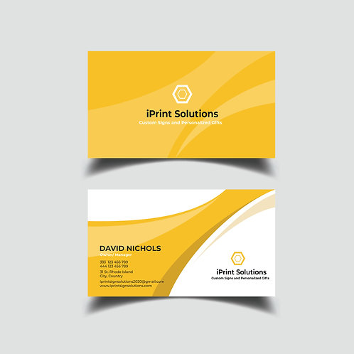 25-1000 Business Cards- Simple Yellow and White High Gloss