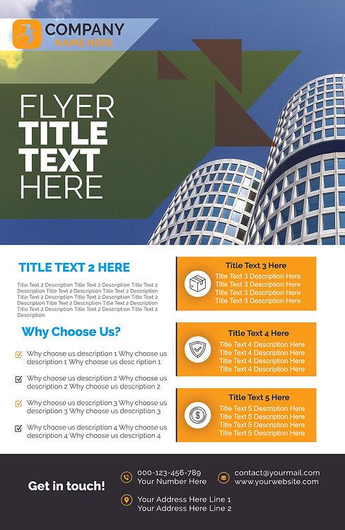 25-1000 High Gloss Business Flyer, 8.5X11 Modern Building Design
