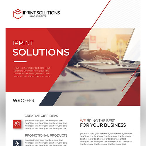 25-1000 pcs. Size 8.5X5.5 Red Business Gloss Flyer