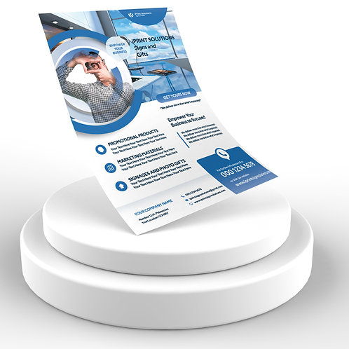25-1000 pcs. Size 8.5X5.5 Light Blue and White Business Gloss Flyer