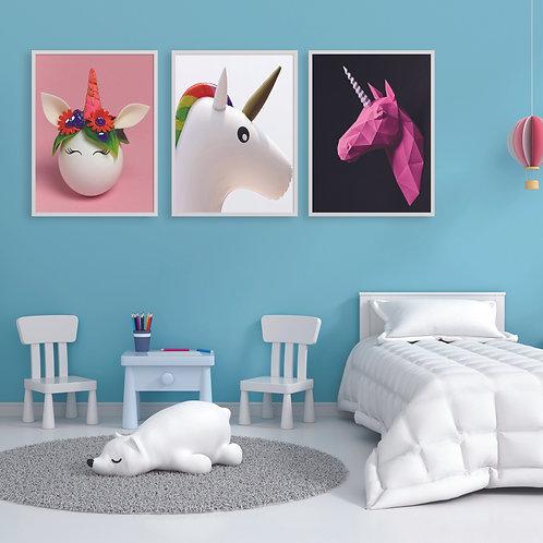 Set of 3 Unicorn Nursery Poster