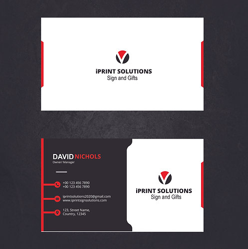 25-1000 Creative Red and Black High Gloss UV Coated Business Cards