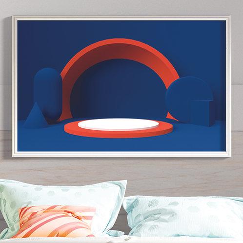 Blue Minimalist Glossy Poster