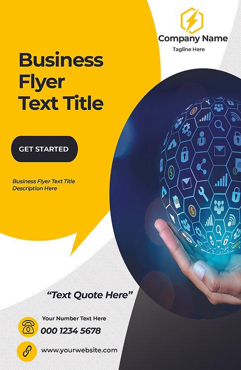 25-1000 High Gloss Business Flyer, High Technology Yellow and Dark Blue