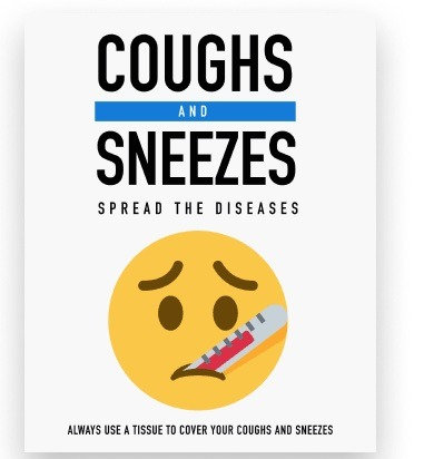 COUGHS AND SNEEZES SPREAD DISEASES HEALTH AND HYGIENE DECALS