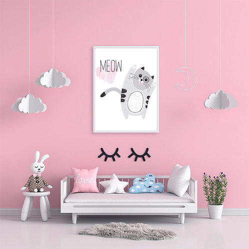 Nursery Room Cute Cat Poster-Customize with Baby Name