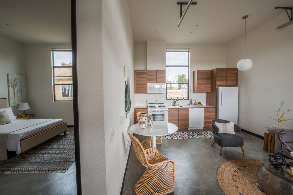 Conserving space and maximizing storage are high priority in studio and one bedroom units.