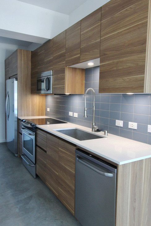 LED lighting was integrated above the sink and countertops.