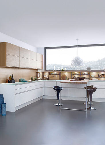 Sophisticated, modern European kitchen with undercabinet lighting.