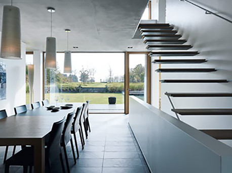 Image of how the kitchen reflects the architectural concept of the home