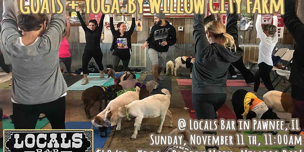 Goats + Yoga @ Locals Bar, Pawnee, IL