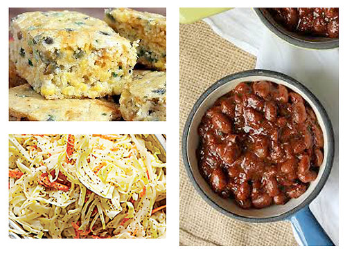 Side Items: Bourbon Baked Beans, Jalapeno Corn Bread & South Carolina Slaw
