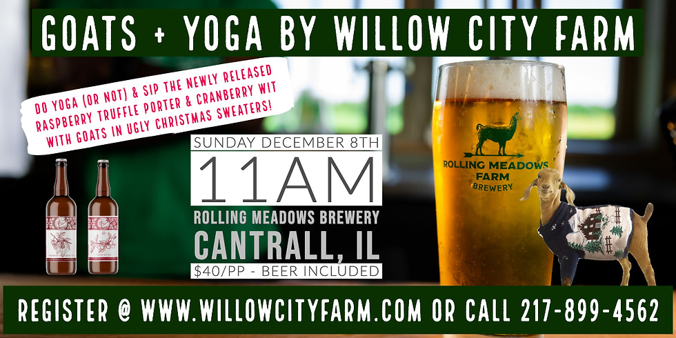 Goats + Yoga & Beer Release @ Rolling Meadows #UglyChristmasSweaterEdition
