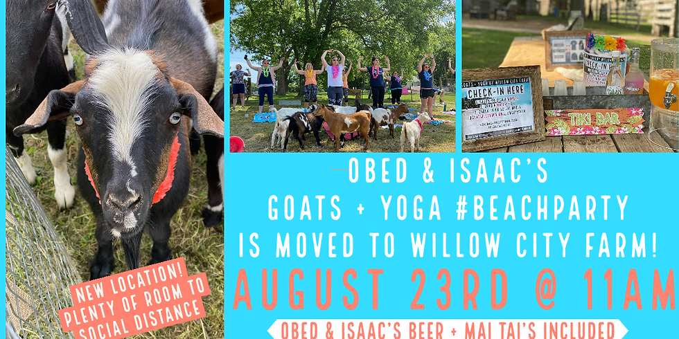 MOVED! Obed + Isaacs Goats + Yoga #BeachParty is now @ Willow City Farm