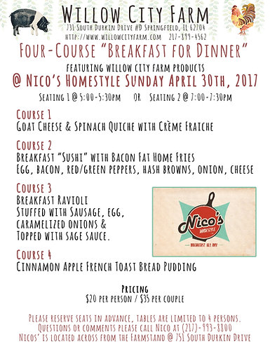 "Nico's Homestyle""Breakfast for Dinner"""