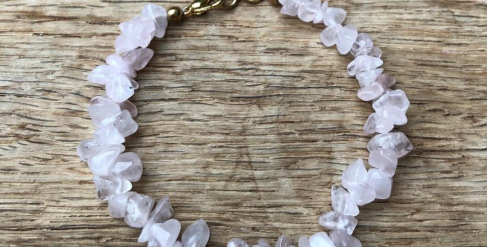 Armband rozenkwarts met sluiting volwassenen