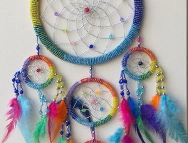 Kleurige dromenvanger uit India 17 cm