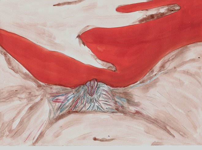 Femmx 1, sang menstruel sur papier 24x32cm Womxn 1, menstrual blood on paper, 24x32cm