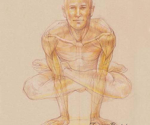 Kukkutasana - 2019,  Pencil and watercolor on paper, 21 x 29,7 cm