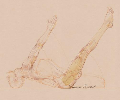 Matsyasana & Uttana Padasana - 2019, Pencil and watercolor on paper, 42 x 29,7 cm