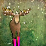 Moose in Boots Spring time Digital Illustration, 2021