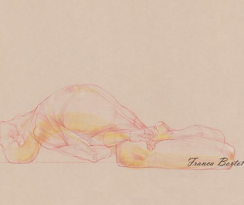 Supta Vajrasana - 2019,  Pencil and watercolor on paper, 42 x 29,7 cm