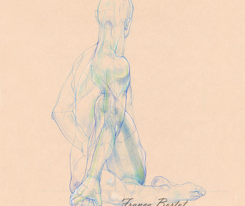 Ardha Matsyendrasana - 2019, Pencil and watercolor on paper, 29,7 x 42 cm